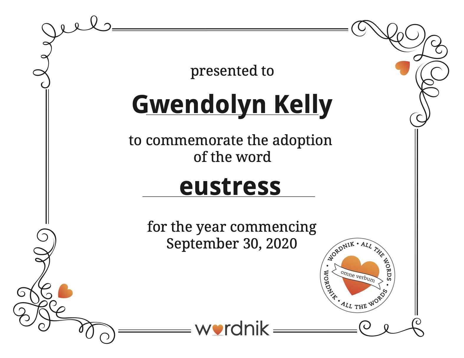 Eustress certificate of adoption from Wordnik